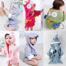 5533d2bbf7 Colorful Baby Kid Child Bath towel bathrobes hooded cute owl shark hippo  shape.