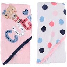 Gerber Baby Girls 2 Pack Hooded Towels Bear /& Dots Design NEW Shower Gift Cute