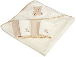 Spasilk 100% Cotton Hooded Terry Bath Towel with 4 Wash Cloths for Baby