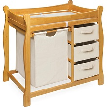 Amazing Badger Basket Sleigh Style Changing Table With Hamper And 3 Baskets, Honey  Oak